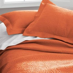 Garnet Hill - Garnet Hill Tumbled Swirl Sham - Standard - Pumpkin - A textural matelasse weave twirls and spins across this pure-cotton coverlet, taking you from season to season with ease and style. Tumble-washed for exquisite softness. Coverlet has a wide 3/4-inch hem; pillow sham has a 2-inch flange.