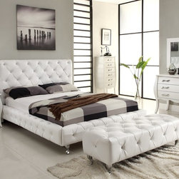 Maria Stylish White Leatherette Upholstered Bed - Big city styled, a stunning upholstered bed becomes the focal point in room setting. Featuring button-tufted detailing, this bed is available in various sizes.