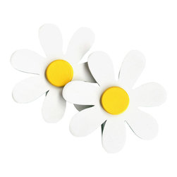 "Little Elephant Company - White Daisy Quilt Clips set of 2 - Beautiful quilt clips that transform your treasured baby quilts and comforters into charming hanging artwork for your child's room.    Very easy to use.  ***  This listing is for a pair of 7 petal daisy quilt clips. The daisies are white with bright yellow centers.    These quilt clips are perfect for garden and daisy themed bedding sets.    Each daisy measures 3.75 inches in diameter.    How many quilt clips do I need?  - For a quilt that is still stiff and new, you will only need 2 quilt clips for up to 36 inches wide. Many people will do 3 quilt clips just for the look, though. For a quilt that has been washed and is pliable, 2 clips will be sufficient for up to 36 inches, but you may want 3 clips to help keep the center from sagging. For a quilt 36 to 42 inches wide, use 3 to 4 clips. For a quilt 42 to 50 inches, use 4 to 5 clips.    How do the quilt clips work?  - The only hardware is needed is a long nail, approximately 1 1/2"" to 2 1/2"" in length.  - Measure how far apart you would like the clips to be.  - Decide how high on the wall they will be placed and mark your first spot. Using a level, measure out and mark the second spot.  - Place your nails into the wall at a 45 degree angle. IMPORTANT: If your nail is not at a 45 degree angle, the clip may slip off the nail.  - Clip the quilt and slide the back of the clip over the nail.    What are the clips made of?  - Designs are made of layered wood. A few of our designs also have layered felt.   - Clips on the back are a sturdy plastic so as not to damage your fabric."