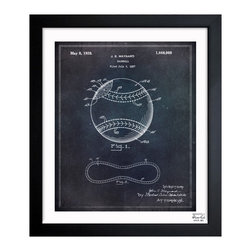 """The Oliver Gal Artist Co. - ''Baseball 1928' 10""""x12"""" Framed Art - Exclusive blueprints inspired by real vintage patent drawings & illustrations. Handcrafted in the Oliver Gal Artist Co. Studios in Miami, Florida. Produced on matte proofing paper and hand framed by professional framers in a 1.2"""" premium black wood frame. Perfect for any interior design project, gifts, office décor, or to add special value to one of your favorite collections."""