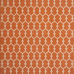 """Baja BAJ-2 Orange Rug - 7'10""""x10'10"""" - Bold and exciting colors patterns allow trend-conscious customers to create their ultimate indoor/outdoor oasis. Baja thrives on simple graphic patterns with a refreshing twist of runway fashion and lively color palettes. Machine-made in Egypt of 100% polypropylene and approved for use outdoors."""