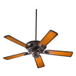 """Quorum Lighting - Quorum Lighting Lowell 52"""" Traditional Ceiling Fan X-44-52565 - This 52"""" Quorum Lighting ceiling fan from the Lowell Collection draws your eye using classic details. Beautifully curved and beveled arms are paired with a finial-style motor and body, all finished in your choice of hues. The three speed motor is manually reversible, making it perfect for all seasons."""