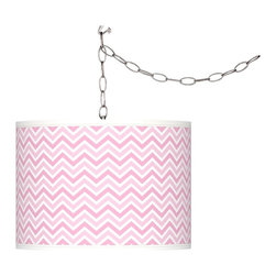"Giclee Glow - Contemporary Pale Pink Narrow Zig Zag 13 1/2"" Wide Plug-In Swag Pendant - Add instant style and glamour to your home with this swag chandelier featuring a custom-printed translucent drum shade with an exclusive pale pink narrow zig zag pattern. Comes with a brushed silver finish spider fitting chain and silver cord. Includes swag hooks and mounting hardware. Installation is easy simply hang on the included hooks drape the cord as desired and plug in to any standard wall outlet. U.S. Patent # 7347593. Plug-in swag pendant light. Translucent drum shade. Custom-printed pale pink narrow zig zag giclee pattern. Brushed silver finish. Maximum 100 watt or equivalent bulb (not included). In-line on/off switch. Shade is 13 1/2"" wide 10"" high. Includes 15 feet lead wire 10 feet chain.  Plug-in swag pendant light.   Translucent drum shade.   Custom-printed pale pink narrow zig zag giclee pattern.   Brushed silver finish.   Maximum 100 watt or equivalent bulb (not included).   In-line on/off switch.   Shade is 13 1/2"" wide 10"" high.   Includes 15 feet lead wire 10 feet chain."