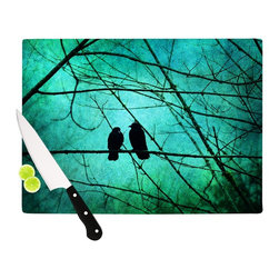 """Kess InHouse - Robin Dickinson """"Smitten"""" Blue Teal Cutting Board (11"""" x 7.5"""") - These sturdy tempered glass cutting boards will make everything you chop look like a Dutch painting. Perfect the art of cooking with your KESS InHouse unique art cutting board. Go for patterns or painted, either way this non-skid, dishwasher safe cutting board is perfect for preparing any artistic dinner or serving. Cut, chop, serve or frame, all of these unique cutting boards are gorgeous."""
