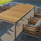 Recycled Teak Outdoor Dining Table and Chairs - Recycled outdoor dining table with matching teak dining chairs.