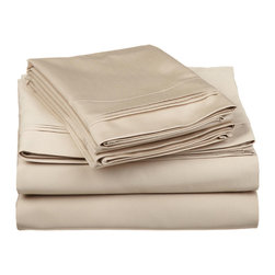 "650 Thread Count Egyptian Cotton California King Linen OVERSIZED Solid Sheet Set - Nothing refreshes a mind and body more than a good night sleep. Experience true 100% Egyptian Cotton luxury when you sleep on these 650 Thread Count sheets. An affordable luxury that drapes beautifully on the bed. These 650 thread count sheets of premium long-staple cotton are ""sateen"" because they are woven to display a lustrous sheen that resembles satin. Set includes: One Flat 110x104, One Fitted 74x84 and, Two Pillowcases 21x42 each."
