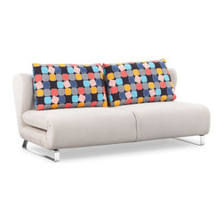 ZUO - Conic Sofa Sleeper - Cement Body & Color Block Back Cushion - Clever folds make the Conic Sleeper Sofa as comfortable a bed as it is a couch. Perfect for the guest room-slash-home office. Comes in cement with a color block back cushion or cowboy blue with a shadow grid cushion.