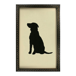 Kathy Kuo Home - Silhouette Black Labrador Dog Art Print - When you're hanging the family photos, don't forget the very best friend! This ever-alert black lab will stand timelessly on your wall, bringing canine candor to your decor. This charming labrador silhouette is for anyone who has ever loved a dog.