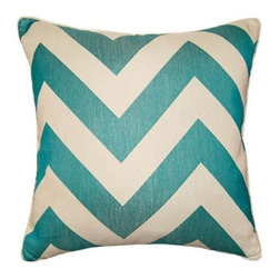 Squarefeathers - Aquared, Chevron Pillow - An excellent collection with excellent colors that compliment one anotherl. The Aquared Collection pops with its red and blue colors and patterns. Made of polyester and rayon with a knife edge trim. It has a soft and pump feataher/down insert inclosed with a zipper. Like all of our products, this pillow is handmade, made to order exclusively in our studio right here in the USA.