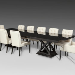 Dining Salon Set - The luxurious Dining Salon features this table - a custom ebonized Cherry dining table with full filled high gloss finish.  Matching custom dining chairs are silk upholstered and feature hand-driven polished nickel nails to finish the set.