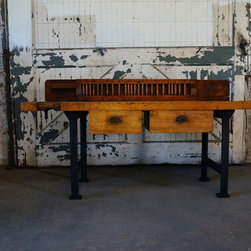 Vintage Industrial Maple Top Work Bench With Cast Iron Legs - Ironsandduck