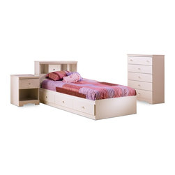 South Shore - Four Pc Kids' Twin Size Bedroom Set With Pure - Four-piece bedroom set has everything you need to keep your child's room looking neat. Five-drawer chest with lots of room for clothes. Twin bed frame has under bed storage and a headboard with bookcase. There's also a nightstand. All pieces have a pure white finish. * Manufactured from eco-friendly, EPP-compliant laminated particle boardcarrying the Forest Stewardship Council (FSC) certification. Twin Size Bed. Bookcase Headboard. Nightstand. 5 Drawer Chest. Pure White finish. Assembly required. For individual piece information see related items below