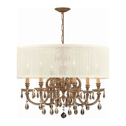 Crystorama - Crystorama 2916-OB-SAW-GTM Chandelier - The Brentwood Collection from Crystorama offers a nice mix of traditional lighting designs with large tailored encompassing shades. Adding either the Harvest Gold or the Antique White shade to these best selling skus opens the door to endless possibilitie