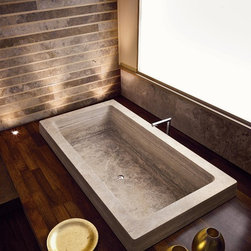 GLOVE Bathtub - Options for materials include Travertino Classico, Travertino Becagli, Travertino Noce, Travertino Bianco Rapolano, Travertino Dorato, Marmo Bianco Carrara, Marmo Arabescato, or Ardesia. Dimensions are 197cm x 107cm x 50cm. Weighs 550 kg. Access to this tub and our full catalog of hand-chiseled natural stone is available at theverostone.com