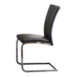 Steve Silver Furniture - Steve Silver Mira Side Chair in Black Faux Leather [Set of 2] - Side Chair in Black Faux Leather belongs to Mira Collection by Steve Silver Contemporary style with a flair for excellence is the Mira side chairs. The ergonomic side chairs feature faux black leather upholstery with baseball stitching, and a stainless steel base.   Side Chair (2)