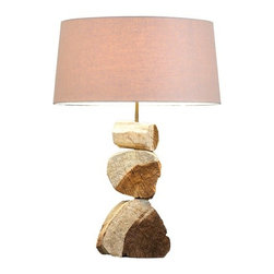 "Scandinavian Design - Distressed Acacia wood Table Lamp - This Table Lamp add a beautiful and natural element to any room. Made of distressed driftwood wooden black base 8"" wide, 16"" tall and 4"" deep linen shade 16"" wide, 9"" tall and 12"" deep Completely assembled 25"" tall One light socket 60 watts max"