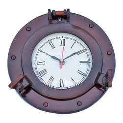 """Handcrafted Model Ships - Antique Copper Deluxe Class Porthole Clock 8"""" - Nautical Wall Clock - The Antique Copper Deluxe Class Porthole Clock 8"""" is a classy and quality accent piece to add to any nautical themed room. This charming vintage nautical port hole clock is both functional and stylish. This beautifully hand-painted vintage finish will accent your nautical wall decor perfectly. In addition, this Antique Copper Deluxe Class porthole clock opens just as if it were on a ship of the time. Batteries not included. Dimensions: 8"""" Long x 2"""" Wide x 8"""" High"""