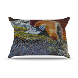 "Kess InHouse - David Joyner ""Pelican"" Orange Bird Pillow Case, King (36"" x 20"") - This pillowcase, is just as bunny soft as the Kess InHouse duvet. It's made of microfiber velvety fleece. This machine washable fleece pillow case is the perfect accent to any duvet. Be your Bed's Curator."