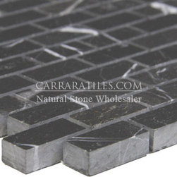 Nero Marquina Black Marble Mini Brick Mosaic Tile Polished - Nero marquina marble mini brick mosaic tile, also known as black marquina marble. Premium grade marble mini brick mosaic tile is perfect for both residential and commercial projects. Marble mini brick mosaic tiles are mainly preffered as floor tiles for their clean, aesthetic qualities. A large selection of coordinating products are available and includes nero marquina basketweave mosaics, nero marquina herringbone mosaics, nero marquina hexagon mosaics, 3x6 marble subway tiles, 12x12 nero marquina marble tiles, 4x4 nero marquina marble tiles, nero marquina borders, nero marquina moldings and nero marquina baseboards, each available in polished finish