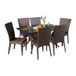 Great Deal Furniture - Anniston Outdoor 7pcs Cast Aluminum Wicker Dining Set - The Anniston outdoor cast and wicker set is a perfect addition to add some style to any outdoor living space. This unique set combines a cast aluminum table with versatile polyurethane wicker chairs to create an interesting touch of expression to your backyard or patio.