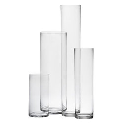 cylinder vases - tall and taller. The classic cylinder, handmade with dramatic scale. Surprisingly affordable price-to-height ratio.- Handblown glass- Polished rim- Clean with glass cleaner- Made in China- See dimensions below
