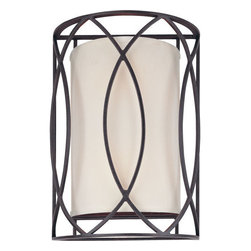 Troy Lighting - Troy Lighting B1289 Sausalito 2 Light Flush Mount Wall Sconce - Pare down Art Deco to the essentials, add a touch of whimsy and, voil�, you have Troy Lighting�s Sausalito 2-Light Wall Sconce. This transitional flush-mount design features a curved half-cylinder frame and a classic White fabric shade, offering diffused ambience. Sausalito is available with a Deep Bronze or Silver-Gold finish and accommodates two 60-watt candelabra base bulbs.Features: