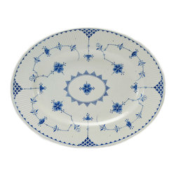 Lavish Shoestring - Consigned Blue and White Serving Platter Furnivals, Antique English, Early 1900s - This is a vintage one-of-a-kind item.