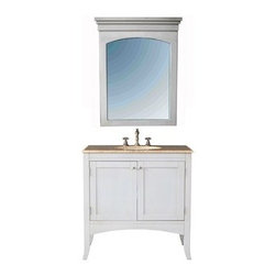 """Stufurhome - Stufurhome 36"""" Alyssa Single Sink Vanity with Travertine Marble Top and Mirror - - Stufurhome has the perfect bathroom vanity for your remodel at a perfect price. Stufurhome's vanities are pieces of finely made furniture detailed with rich color, charming woodwork, and ample storage space. Stylish, tasteful and practical, Stufurhome.The Alyssa single sink vanity is a real beauty in white and it will perfectly blend in a bathroom of any shade. Place the vanity in your home to bring a feeling of old world charm. FeaturesExquisite looking traditional vanity in white with 2 doorsMirror includedTraditional vanity single sink3 faucet holes, pre drilledAttractively curved base of the cabinetGorgeous cabinet painted in whiteVanity has a large cutout back for easy plumbing installationWhite framed rectangular wall mounted mirror*Faucet sold separately Ivory white undermount sink30""""W x 22""""D x 36""""HStufurhome 1 Year Limited-WarrantyHow to handle your counterView Spec Sheet Natural stone like marble and granite, while otherwise durable, are vulnerable to staining from hair dye, ink, tea, coffee, oily materials such as hand cream or milk, and can be etched by acidic substances such as alcohol and soft drinks. Please protect your countertop and/or sink by avoiding contact with these substances. For more information, please review our """"Marble & Granite Care"""" guide."""