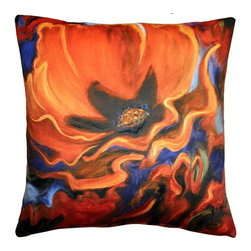 Pillow Decor - Pillow Decor - Orange Poppy 20x20 Throw Pillow - A deep orange poppy in full bloom is accented with bold strokes of deep blue and red on this stunning 20x20 throw pillow. The back of the pillow features broad two-toned dark orange stripes. The image is a reproduction from a Sandra Forzani original painting and is available exclusively through Pillow Decor. Enjoy this pillow indoors and outdoors.