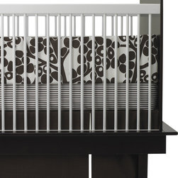 Oilo - Modern Berries 3-piece Crib Set, Brown - This playful design is the perfect combination of modern lines and a classic color combination. The modern berries complement the bold stripes and are a match made in heaven for a contemporary nursery. The set comes with a bumper, bed skirt and fitted sheet — everything you need to bring home baby.