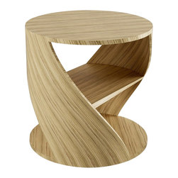 NONO - Nono Mydna Small Table Wood Finish, Zebrano - The Mydna seems to stretch and bend within your room. This athletic piece is cylindrical with a middle shelves for heirloom editions, new favorites, and poetry anthologies of your choosing.