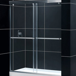"Dreamline - Charisma 56 to 60"" Frameless xpass Sliding Shower Door, Clear 5/16"" Glass Door - The Charisma shower door has a unique no wall profile design, combining the beauty of frameless glass with the convenience the sliding bypass operation. Most bypass shower doors require significant aluminum framing. Lose the aluminum and discover the sleek look of a frameless sliding bypass glass design."