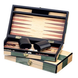 """Bey-Berk - Executive Small Backgammon Set - This magnificent backgammon set by Bey-Berk provides you with everything you need to play the classic game of backgammon in style. This beautiful piece combines simplistic elegance and fine detail found only on the finest of sets. Featuring a wooden set with leatherette interior, this set is great for traveling and entertaining.  *Set includes: 2 cups, 2 dices, 15 dark and light chips *Dimensions: L:12"""" W:8"""" H:2"""" *Great for traveling and entertaining"""
