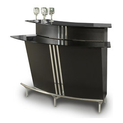 "Chintaly Imports - Broadway Bar In Black Matte - Features: Broadway Collection; Black Glass Top; Black Matte and Chrome Finish; Foot Rail; Storage Behind Bar; Stemware Holders for Wine and Martini Glasses; Contemporary Design; Tempered Glass; Constructed for Home or Commercial Usage; Assembly Required; Dimensions: 60""W x 31""D x 41""H"