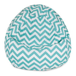 Majestic Home Goods - Teal Chevron Small Classic Bean Bag - Now you can kick back and relax anywhere, inside or out, with this comfortable and supportive reading pillow. The Majestic Home Goods indoor/outdoor Chevron reading pillow provides back and head support that is perfect for many activities such as reading, working on your laptop or lounging with friends. Stuffed with a super loft recycled polyester fiber fill, the reading pillows zippered slipcover is woven from outdoor treated polyester and has up to 1000 hours of U.V. protection.  Spot clean slipcover with mild detergent and hang dry. Do not wash insert.