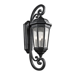 Kichler - Kichler Courtyard 4-Light Textured Black Wall Lantern - 9081BKT - This 4-Light Wall Lantern is part of the Courtyard Collection and has a Textured Black Finish. It is Outdoor Capable.