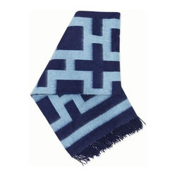 Jonathan Adler - Jonathan Adler Richard Nixon Alpaca Throw - Navy & Light Blue - Wrap yourself in super soft style. This hand-loomed baby alpaca throw in Navy & Light Blue has become an instant decorating classic. Chic and classique patterns interpreted by Peruvian artisans using the finest threads. Baby alpaca is so today, cashmere is so yesterday.• 100% baby alpaca• Colors reverse on opposite side