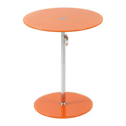 Radinka Side Table-Org - When you place a lamp on this fantastic side table, the lamp just shines … literally and figuratively. The circular top and base are beautiful bookends to the slender column, which work to present any displayed item in its best light.