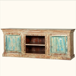 Hand Carved Reclaimed Old Wood TV Stand Media Console Storage DVD Cabinet -