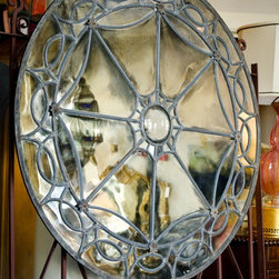 ROSE WINDOW mirror - Hand silvered leaded Restoration glass ROSE WINDOW mirror from our Cultured Silver Series collection of customizable mirrors.  Available in multiple sizes and finishes.