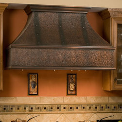 """48"""" Tuscan Series Copper Wall-Mount Range Hood with Riveted Bands - The ornamental bands and decorative rivets of the Tuscan Series Copper Range Hood add an elegant touch to this kitchen vent. Both stylish and functional, this range hood is made from solid copper with stainless steel inserts and washable filters."""