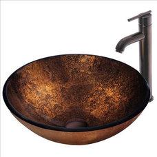 Contemporary Bathroom Sinks VIGO VGT128 Atlantis Sink and Faucet Set
