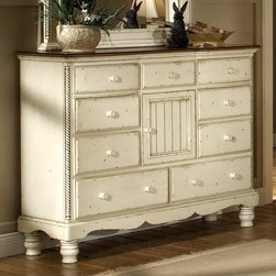 Hillsdale Furniture - Traditional Mule Chest w 9 Drawers & Antique - Country inspired design elements are showcased in this classic mule chest, featuring nine drawers and a cabinet door for added visual interest and storage options. The chest is finished in distressed antique white and has round wood hardware and turned feet. Twisted spindle accents add a charming touch. For residential use. Antique White Finish. 60.25 in. W x 20 in. D x 45.5 in. H