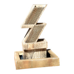 Zig Zag Outdoor Fountain, Ancient - The Zig Zag Outdoor Fountain gives a different look to any backyard with a Z shaped front and back. With its sleek design, the Zig Zag is becoming more popular to home owners every day. Looks great in our Absolute finish.