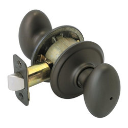 Schlage - Siena Oil-Rubbed Bronze Bed and Bath Knob - F - Manufacturer SKU: F40 SIE 613. Handle Type: Knob. Use on a 1-3/8 in. to 1-3/4 in. thick door. Universal latch and Triple Option faceplate fit standard door preparations. Privacy knob, with push-button lock, for use on an interior bathroom or bedroom door. All-metal chassis for durability. Oil-rubbed bronze finish. Includes hardware for quick, 1-tool installation. Includes unlocking tool. ANSI Grade 2. 2.6 in. L x 2.8 in. W x 2.8 in. H (1.1 lbs)