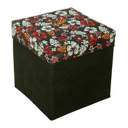 Blancho Bedding - Flowers & LeavesSquare Foldable Storage Ottoman / Storage Boxes / Storage Seat - The Foldable Storage Seat will make an ideal addition to your room, which combines accessible everyday storage with a useful occasional seat. Not only does it provide you a comfortable place to rest, but it also offers extra space to store your gaming gear, gadgets, books, magazines, and other household necessities. With lots of storage space, the ottoman helps you keep your room free from clutter. Made with non-woven fabric and durable cardboard. It spices up your home's decor, and create a multifunctional storage unit for all around your home.
