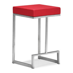 ZUO - Darwen Counter Chair - Red - Compelling geometric design makes the Darwen Counter Chair an eye-catching blend of form and function. Gleaming stainless steel holds a plush leatherette seat. Comes in black, white, or bright red.