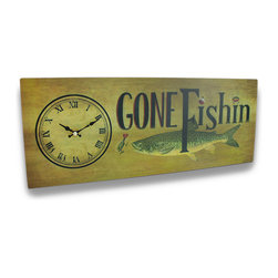 Zeckos - Metal Gone Fishin Decorative Printed Wall Clock 20 in. - There's nothing quite like a day of fishing, and this whimsical clock is perfect for the fisher in your family Printed on metal, it has a simply stated 'Gone Fishin' with a fish ready to take the bait, and the clock has easy to read roman numerals on the face and would look great hanging on the wall in any recreation room, garage, entryway, kitchen or office It measures 19 1/2 inches long (50 cm), 7 3/4 inches high (20 cm) and 1 1/2 inches deep(4 cm), and easily hangs on the wall using only 2 nails or screws via the keyhole hangers on the back, while the clock runs on just 1 AA battery(not included).