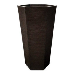 Craft-Ware Pottery Tall Hexagon Poly-Plastic Pot - The Craft-Ware Pottery Tall Hexagon Poly-Plastic Pot is an elegant addition to any outdoor setting. Constructed of 100-percent recyclable poly-plastic, this all-weather pot features a bold hexagonal design and textured sides. Perfect for the patio.