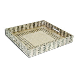 Tray - Silver Dreamweaver/Silver - The Silver Dreamweaver tray, with its intricate square patterning can be used for a host of things including libations for guests or potions for the bath. This elegantly versatile tray shimmers and reflects light beautifully and will be a staple in your favorite home accessories.